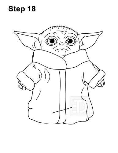How to Draw The Child Baby Yoda Mandalorian Star Wars 18