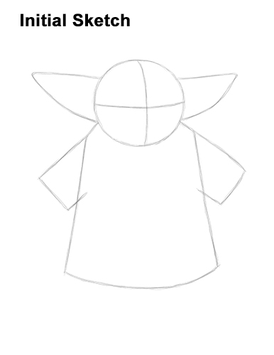 How to Draw The Child Baby Yoda Mandalorian Star Wars Guides Lines