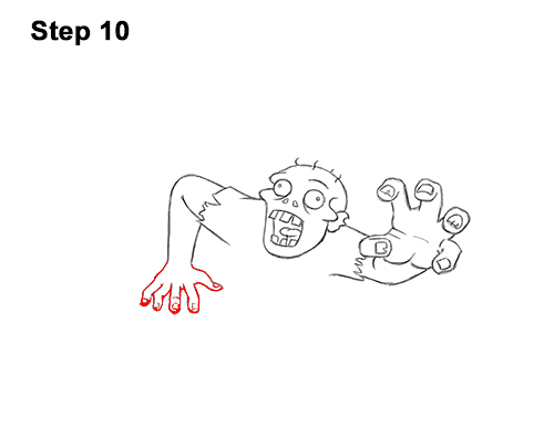 How to Draw Cartoon Zombie Coming out of the Ground 10