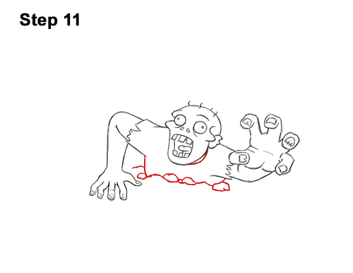 How to Draw Cartoon Zombie Coming out of the Ground 11