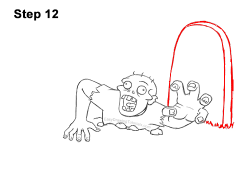 How to Draw Cartoon Zombie Coming out of the Ground 12