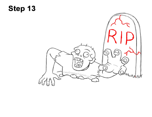 How to Draw Cartoon Zombie Coming out of the Ground 13