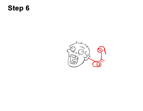 How to Draw Cartoon Zombie Coming out of the Ground 6