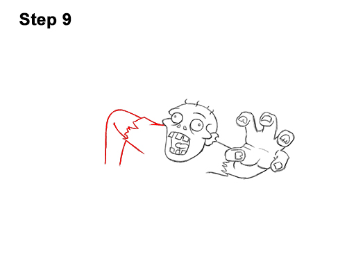 How to Draw Cartoon Zombie Coming out of the Ground 9