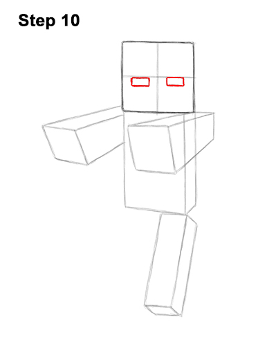 How to Draw Zombie Mob Minecraft Full Body 10