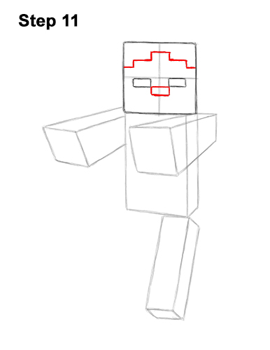 How to Draw Zombie Mob Minecraft Full Body 11