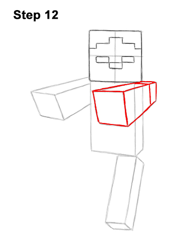 How to Draw Zombie Mob Minecraft Full Body 12