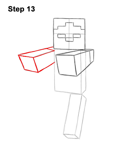 How to Draw Zombie Mob Minecraft Full Body 13