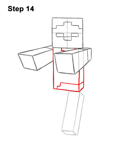 How to Draw Zombie Mob Minecraft Full Body 14