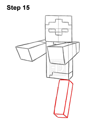 How to Draw Zombie Mob Minecraft Full Body 15