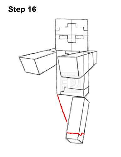 How to Draw Zombie Mob Minecraft Full Body 16