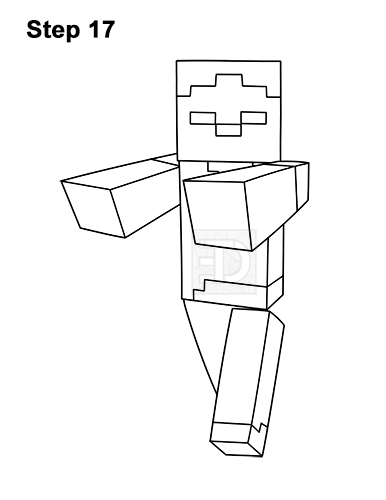 How to Draw Zombie Mob Minecraft Full Body 17