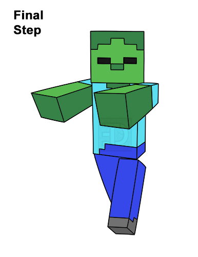 How to Draw Zombie Mob Minecraft Full Body